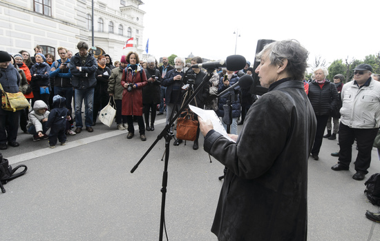 VIENNA, AUSTRIA - MAY 12: Chairwoman of the Austrian Platform for single parents Evelyn Martin adresses the audience at the event of SOS-Mitmensch - Renaming the Federal Chancellery into chancellery of poverty in front of the Federal Chancellery on M