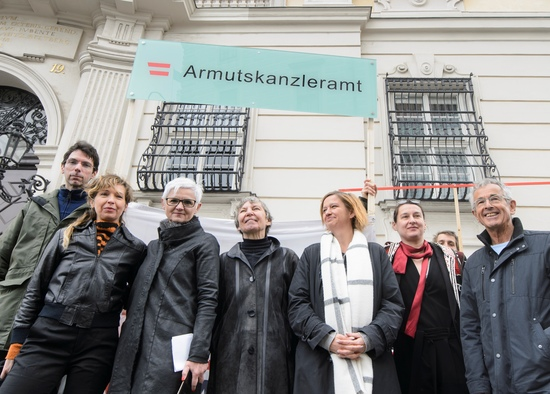VIENNA, AUSTRIA - MAY 12: Spokesperson of SOS Mitmensch SOS-Mitmensch, artist Martina Poel, managing director of independent womens shelters Austria Maria Roesslhumer, chairwoman of the Austrian Platform for single parents Evelyn Martin, activist aga