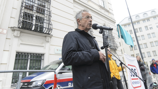 VIENNA, AUSTRIA - MAY 12: Economist Stephan Schulmeister at the event of SOS-Mitmensch - Renaming the Federal Chancellery into chancellery of poverty in front of the Federal Chancellery on May 12, 2019 in Vienna, Austria.