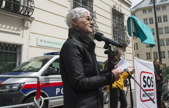 VIENNA, AUSTRIA - MAY 12: Managing director of independent womens shelters Austria Maria Roesslhumer at event of SOS-Mitmensch - Renaming the Federal Chancellery into chancellery of poverty in front of the Federal Chancellery on May 12, 2019 in Vienn