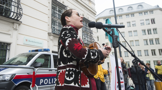 VIENNA, AUSTRIA - MAY 12: Singer Jelena Poprzan at the event of SOS-Mitmensch - Renaming the Federal Chancellery into chancellery of poverty in front of the Federal Chancellery on May 12, 2019 in Vienna, Austria.